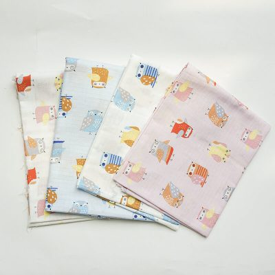 Printed cotton gauze ready goods with owl pattern